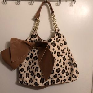 Betsey Johnson Cheetah Purse with large bow